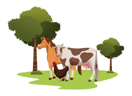 farm, animals and farmer horse, cow and hen icon cartoon over the grass with trees vector illustration graphic design Foto de archivo - 134706082