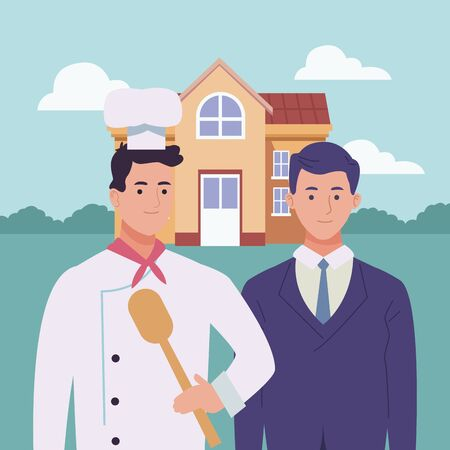 Professionals workers chef and businessman with lawyer smiling cartoons outside from school building ,vector illustration graphic design.