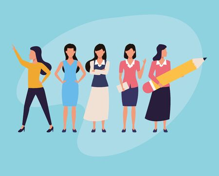 Executive businesswomen workers characters avatars on blue background vector illustration graphic design.