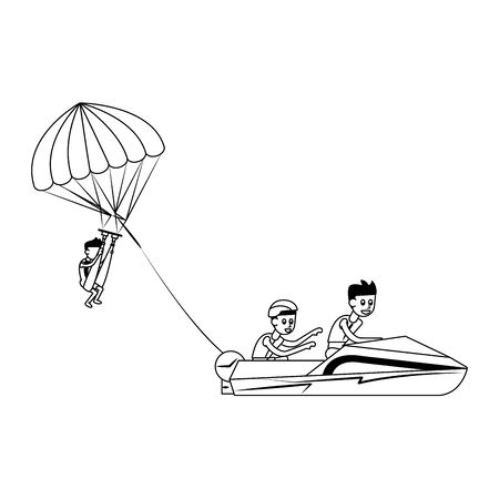 Water extreme sport parasailing cartoon isolated vector illustration graphic design