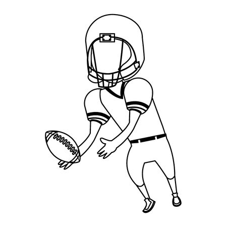 american football sport game, player champion man playing in offense position with ball cartoon vector illustration graphic design