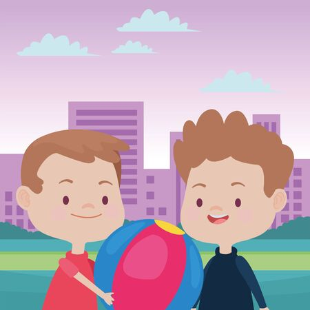 happy kids boys playing and having fun with ball in the park over cityscape urban scenery ,vector illustration graphic design. Illusztráció
