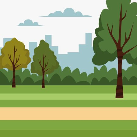 City park with trees bushes grass and path scenery cartoon ,vector illustration.