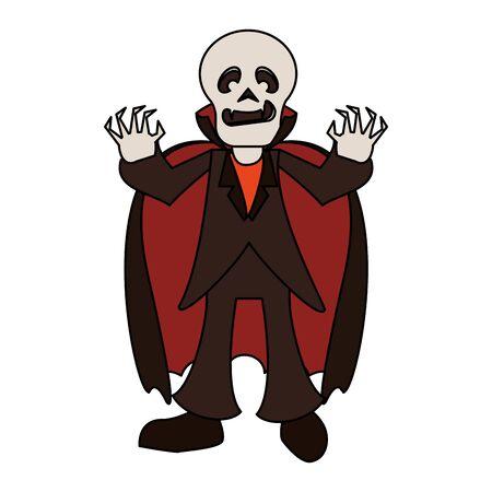 halloween october scary celebration  skull death man vampire cartoon vector illustration graphic design