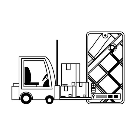 logistic and delivery shipping with forklift and merchandise cardboard boxes and web tracing with gps location cartoon vector illustration graphic design