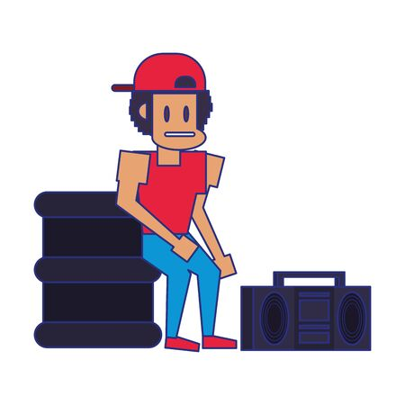 Retro videogame pixelated man and trash can with radio cartoons isolated vector illustration graphic design 向量圖像