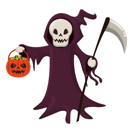 halloween october scary celebrationm skull death man cartoon vector illustration graphic design