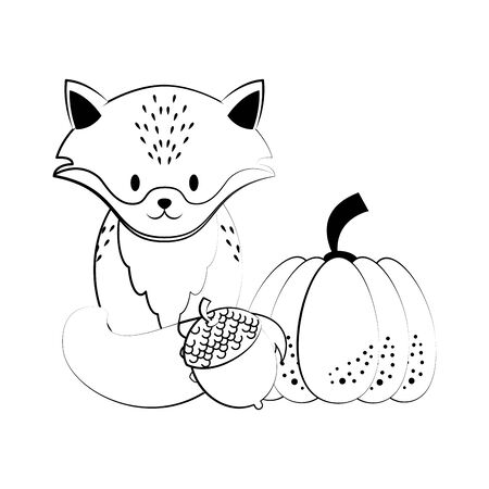 Wild animals and autumn season cartoons fox with pumpkin and nut vector illustration graphic design Иллюстрация