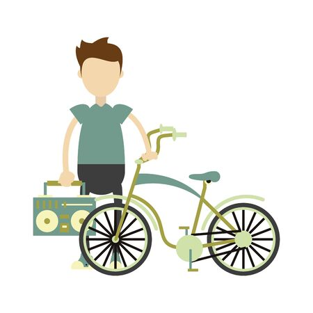 vintage bicycle and hipster boy with stereo and music player isolated Vector design illustration Иллюстрация