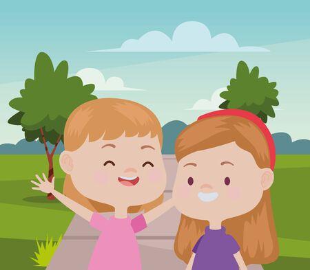 Happy kids girls playing and having fun at nature outdoors ,vector illustration graphic design. Illusztráció