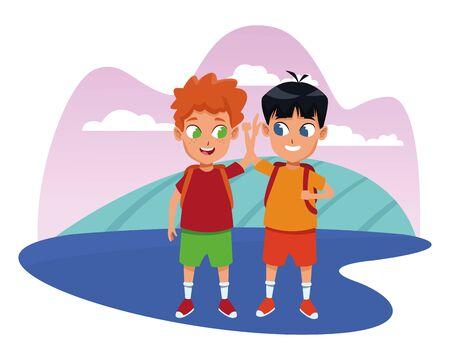 childhood adorable school students happy boys friends wearing backpack cartoon ,vector illustration graphic design. Illusztráció
