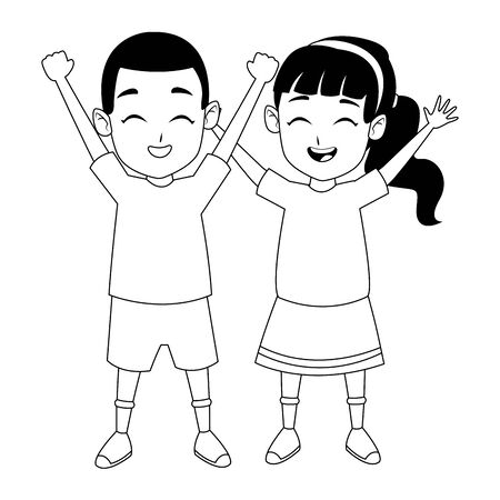 Kids friends afro boy and girl playing and smiling cartoon vector illustration graphic design