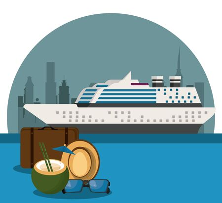 Travel cruise ship and luggage with cocktail hat and sunglasses in seaport vector illustration graphic design Ilustrace