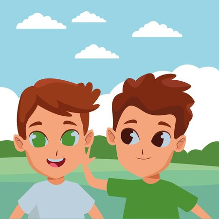 Cute kids boys playing in the park cartoon ,vector illustration graphic design.