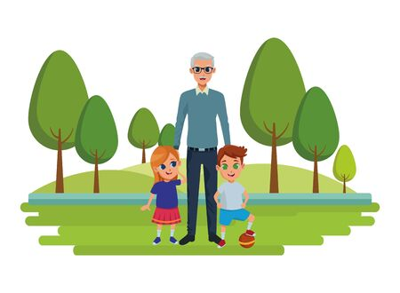 Family grandchildren and grandfather of hand in nature park outdoors scenery background ,vector illustration graphic design.