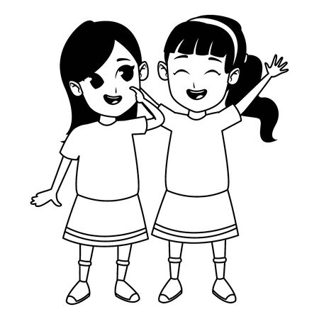 Kids friends girls playing and smiling cartoons