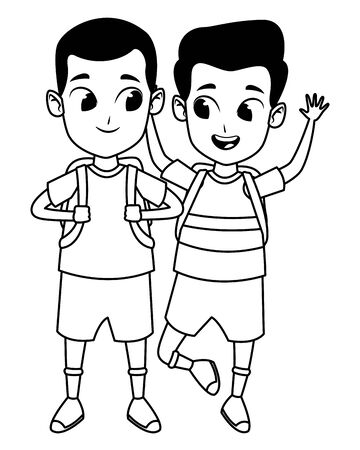childhood adorable school students happy boys friends wearing backpack cartoon vector illustration graphic design