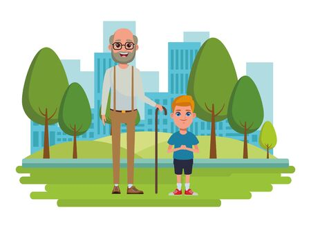 family avatar grandfather with beard and glasses next to a child profile picture cartoon character portrait over the grass with trees