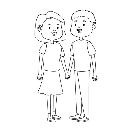 teen couple standing icon over white background, flat design, vector illustration