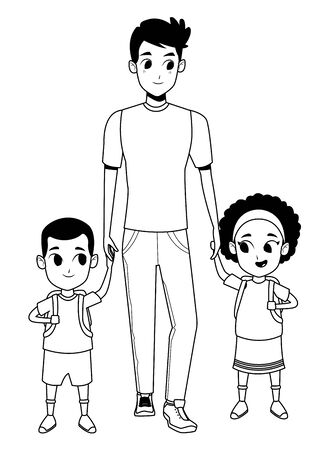 Family single father with kids holding school backpack vector illustration graphic design Vektorgrafik
