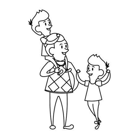 fathers day family celebration, father with children isolated cartoon vector illustration graphic design