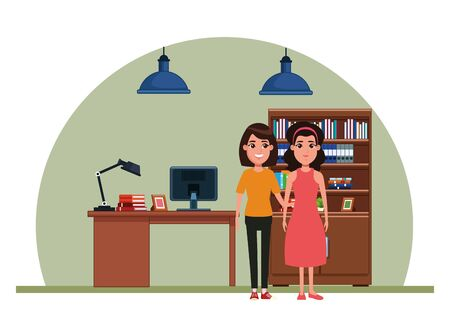 avatar women avatar brunette woman with bandana and woman with short hair profile picture cartoon character portrait indoor with hanging lamps, bookshelf and computer desk vector illustration graphic design