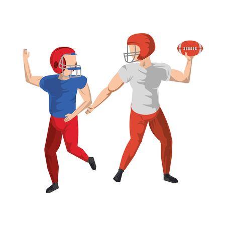 american football sport game players training with ball wearing helmet cartoon vector illustration graphic design Illustration