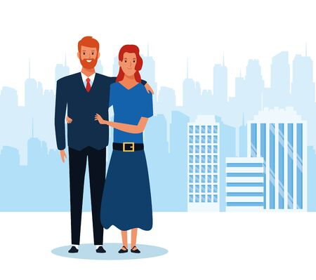 cartoon businessman and his wife standing over urban city landscape and white background, colorful design. vector illustration