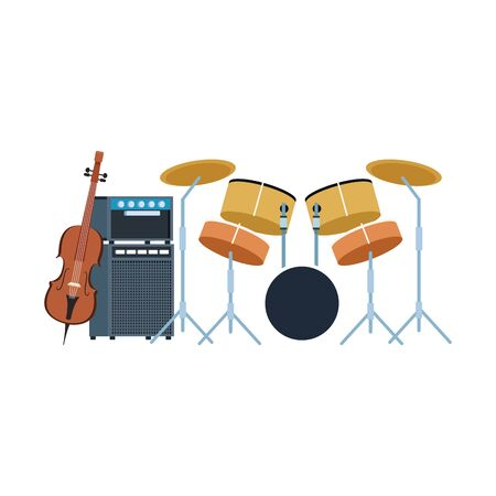 drums set and cello over white background, colorful design. vector illustration