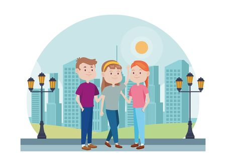 young people characters in the park vector illustration design Standard-Bild - 134420119