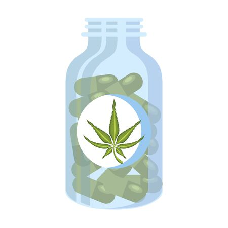 cannabis marijuana medical marijuana medicine sativa hemp pills bottle cartoon vector illustration graphic design