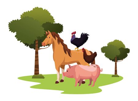 farm, animals and farmer rooster over a horse and hen over a pig icon cartoon over the grass with trees vector illustration graphic design Foto de archivo - 134420852