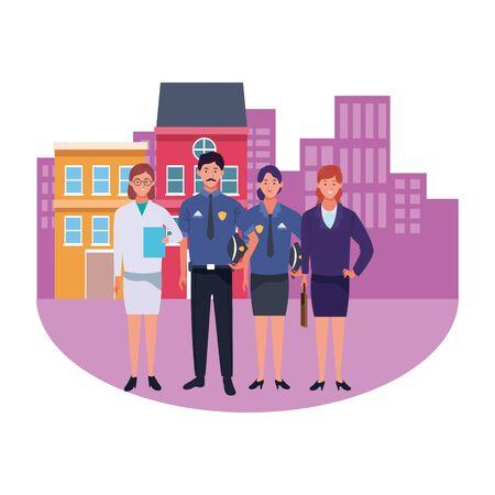 Professionals workers smiling in the city cartoons ,vector illustration graphic design. Foto de archivo - 134436688