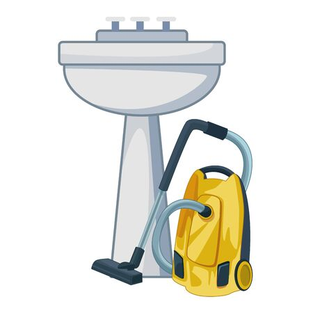 cleaning and hygiene equipment vacuum cleaner next to a handwashing vector illustration graphic design Foto de archivo - 134436736