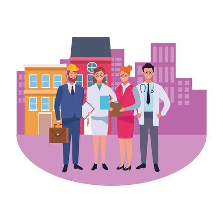 Professionals workers smiling in the city cartoons ,vector illustration graphic design. Foto de archivo - 134437205