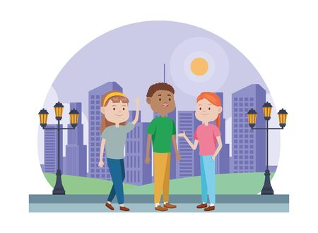 young people characters in the park vector illustration design Standard-Bild - 134437215
