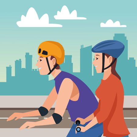 Friends riding on skates and electric scooter with helmet in the city urban scenery background ,vector illustration graphic design.