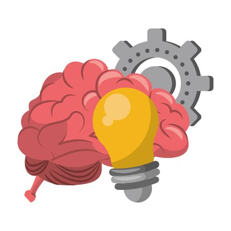 Brain and bulb light with gear cartoons vector illustration graphic design