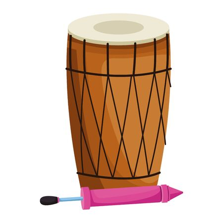 drum mridangam with firecracker icon cartoon isolated vector illustration graphic design
