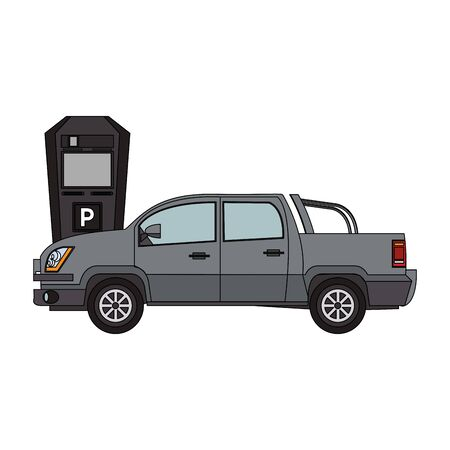 parking car and parking meter over white background, vector illustration Illustration