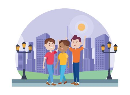 young people characters in the park vector illustration design