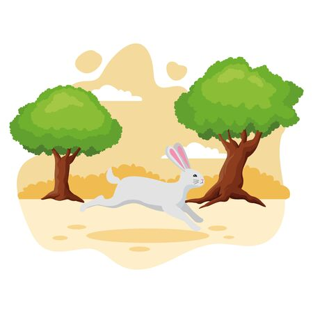 Cute rabbit pet jumping animal cartoon in the nature background scenery ,vector illustration graphic design. Ilustração