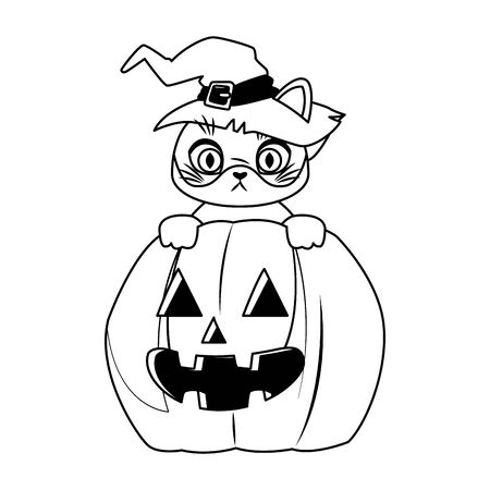 halloween pumpkin with little cat vector illustration design