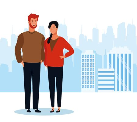 cartoon man and woman standing over urban city landscape background, colorful design. vector illustration