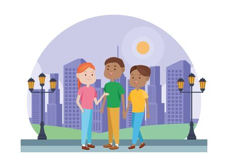 young people characters in the park vector illustration design Standard-Bild - 134508429