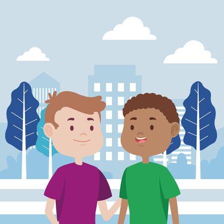 jonge mannen vrienden karakters in de stad vector illustratie ontwerp Vector Illustratie