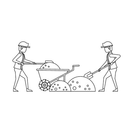construction architectural engineering work, workers making heavy work in construction site cartoon vector illustration graphic design Foto de archivo - 134417117