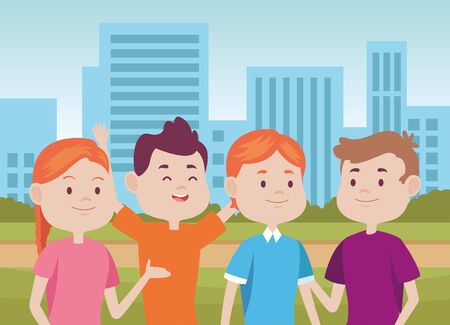 young people characters in the city vector illustration design Standard-Bild - 134417533