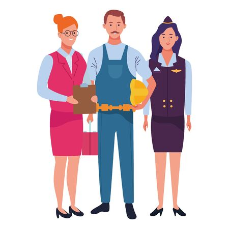 Professionals workers smiling with work tools cartoons ,vector illustration. Foto de archivo - 134417583