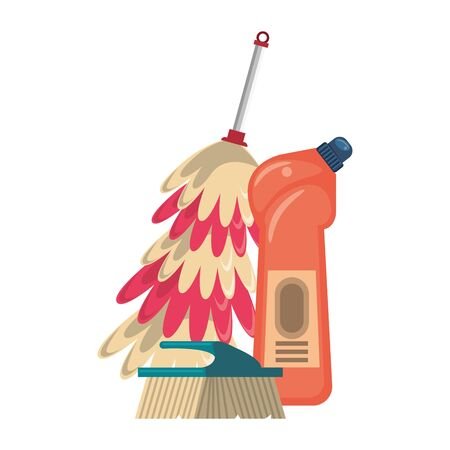 Cleaning equipment and products soap bottle with brush and cobweb brush vector illustration graphic design.